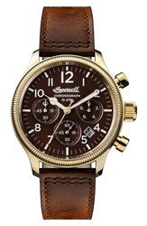 Ingersoll Watches Men's Apsley Chronograph Leather Strap Watch 45Mm Brown Gold