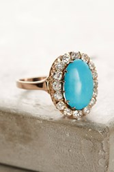 Anthropologie One Of A Kind Vintage Turquoise Diamond Cluster Ring Gold