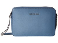 Michael Michael Kors Jet Set Travel Lg Ew Crossbody Denim Cross Body Handbags Blue