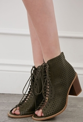 Forever 21 Perforated Lace Up Peep Toe Booties Olive