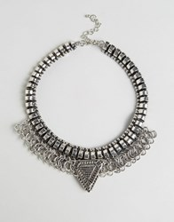 Cara Jewellery Ny Statement Fringe Necklace Silver