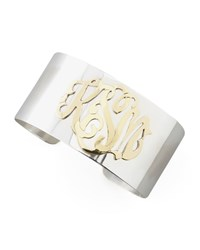 Sterling Silver And Gold Script Monogram Cuff Moon And Lola Silver Gold