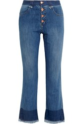 See By Chloe Cropped Mid Rise Flared Jeans Mid Denim