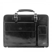 Maxwell Scott Bags Black Leather Briefcase For Men