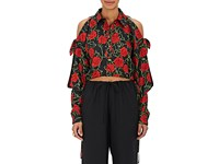 Alexander Wang Women's Rose Print Silk Crop Blouse Black Red Green