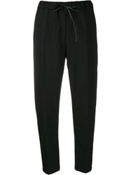 Semicouture Drawstring Waist Cropped Trousers Black