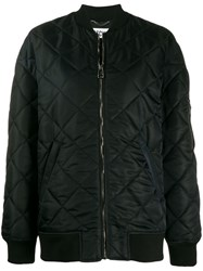 Moschino Teddy Bear Quilted Bomber Jacket Black