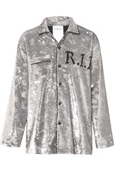 Ashish Sequined Georgette Shirt Silver