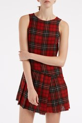 R 13 Asymmetrical Plaid Kilt Dress Red