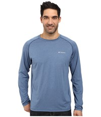 Columbia Tuk Mountain Long Sleeve Shirt Night Tide Heather Men's Long Sleeve Pullover Blue