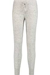 Derek Lam 10 Crosby By Ribbed Cashmere Boucle Track Pants Gray