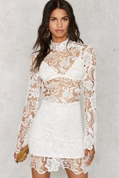 Nasty Gal Right Lace Right Time Mock Neck Dress White