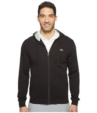 Lacoste Sport Full Zip Hoodie Fleece Sweatshirt Black Silver Chine Men's Sweatshirt