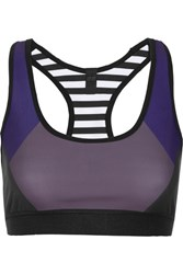 Monreal London Reversible Printed Stretch Jersey Sports Bra Black