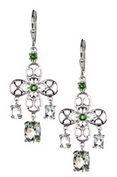 Olivia Leone Sterling Silver Chrome Diopside And Green Amethyst Chandelier Earrings