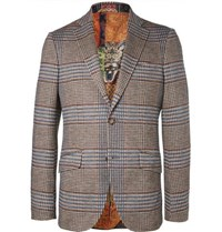 Etro Brown Slim Fit Prince Of Wales Checked Cotton And Wool Blend Suit Jacket