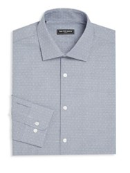 Saks Fifth Avenue Dots And Checkered Dress Shirt Blue