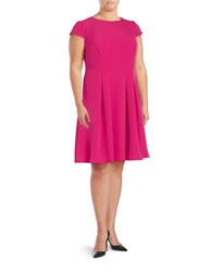 Adrianna Papell Plus Cap Sleeve A Line Dress Shocking Pink