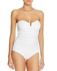 Tommy Bahama Pearl V Wire Bandeau One Piece Swimsuit White