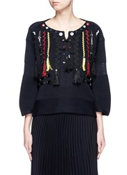 Toga Archives Faux Leather Wavy Embroidery Sweater Black