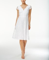 Connected Cap Sleeve Lace Fit And Flare Dress White