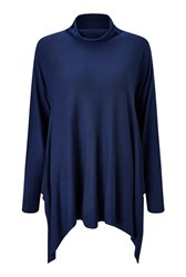 James Lakeland Side Drape Polo Neck Navy