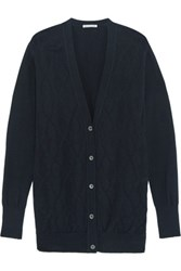 Autumn Cashmere Argyle Knit Cotton Cardigan Midnight Blue