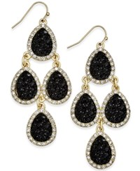 Inc International Concepts Gold Tone Jet Glitter Chandelier Earrings Only At Macy's