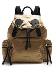 Burberry Medium Nylon Backpack Black Gold