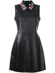 Red Valentino Floral Applique Dress Black
