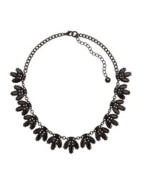 Lydell Nyc Jet Black Crystal Cluster Station Necklace Women's