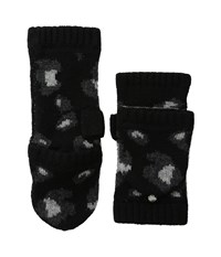 Michael Michael Kors Animal Print Jacquard Mini Pop Over Glove Black Derby Pearl Heather Grey Extreme Cold Weather Gloves