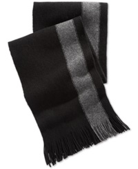 Nautica Side Striped Fringed Scarf Black Granite Heather