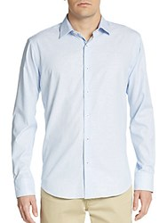 Bugatchi Shaped Fit Hairline Striped Cotton Sportshirt Sky