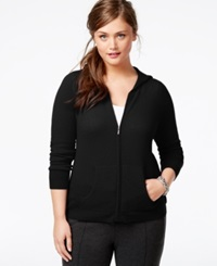 Charter Club Plus Size Cashmere Zip Front Hoodie In 5 Colors Only At Macy's Classic Black