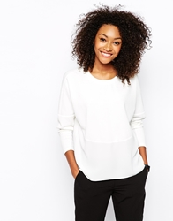 Vero Moda Mixed Fabric Textured Sweat White