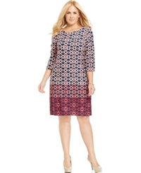 Charter Club Plus Size Printed Shift Dress Rose Combo