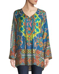 Johnny Was Valeni Tie Neck Printed Silk Georgette Tunic Multi