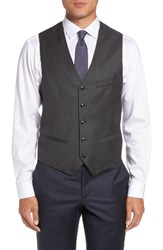 Ted Baker Men's London Troy Trim Fit Solid Wool Vest Charcoal