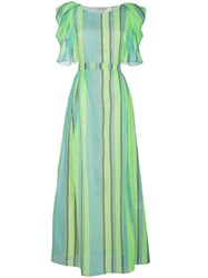 Vika Gazinskaya Striped Silk Maxi Dress With Puffed Sleeves Green
