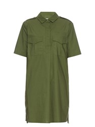 Equipment Major Short Sleeved Cotton Mini Dress Khaki