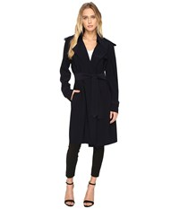 Norma Kamali Double Breasted Trench Midnight Women's Coat Navy