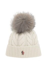 Moncler Wool And Cashmere Cable Knit Hat White