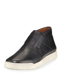 John Varvatos Remy Leather Mid Top Slip On Sneaker Black