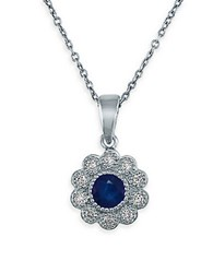 Effy Sapphire Diamond And 14K White Gold Flower Pendant Necklace