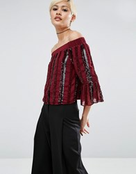 Asos Off Shoulder Top In Sequin Stripe Oxblood Red