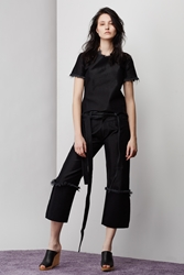 Marques'almeida High Cuffed Boyfriend Jeans Shiny Black