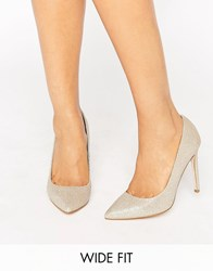Asos Playful Wide Fit Pointed Heels Gold