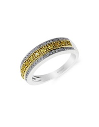 Effy 14K White And Yellow Gold Ring With Yellow Sapphire And Diamonds