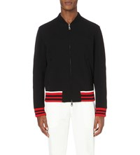 Gucci Leather Trim Wool Blend Jacket Black